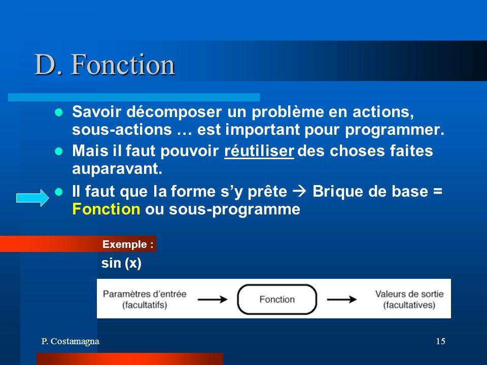 P. Costamagna15 D. Fonction Savoir décomposer un problème en actions, sous-actions … est important pour programmer. Mais il faut pouvoir réutiliser de