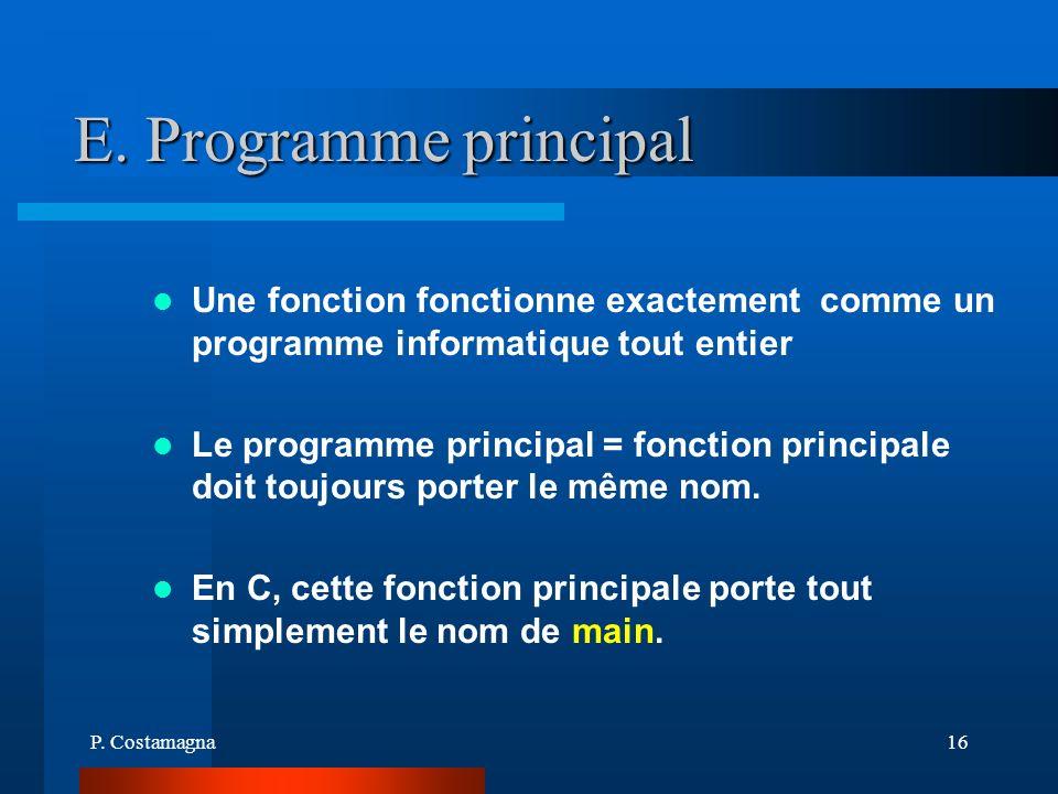 P. Costamagna16 E. Programme principal Une fonction fonctionne exactement comme un programme informatique tout entier Le programme principal = fonctio