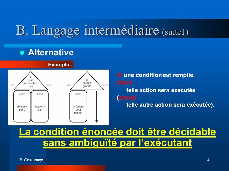 P. Costamagna4 B. Langage intermédiaire (suite1) Alternative La condition énoncée doit être décidable sans ambiguïté par lexécutant si une condition e