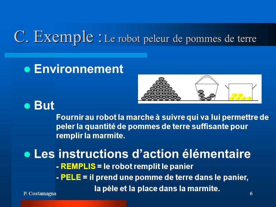 P. Costamagna6 C. Exemple : Environnement Fournir au robot la marche à suivre qui va lui permettre de peler la quantité de pommes de terre suffisante