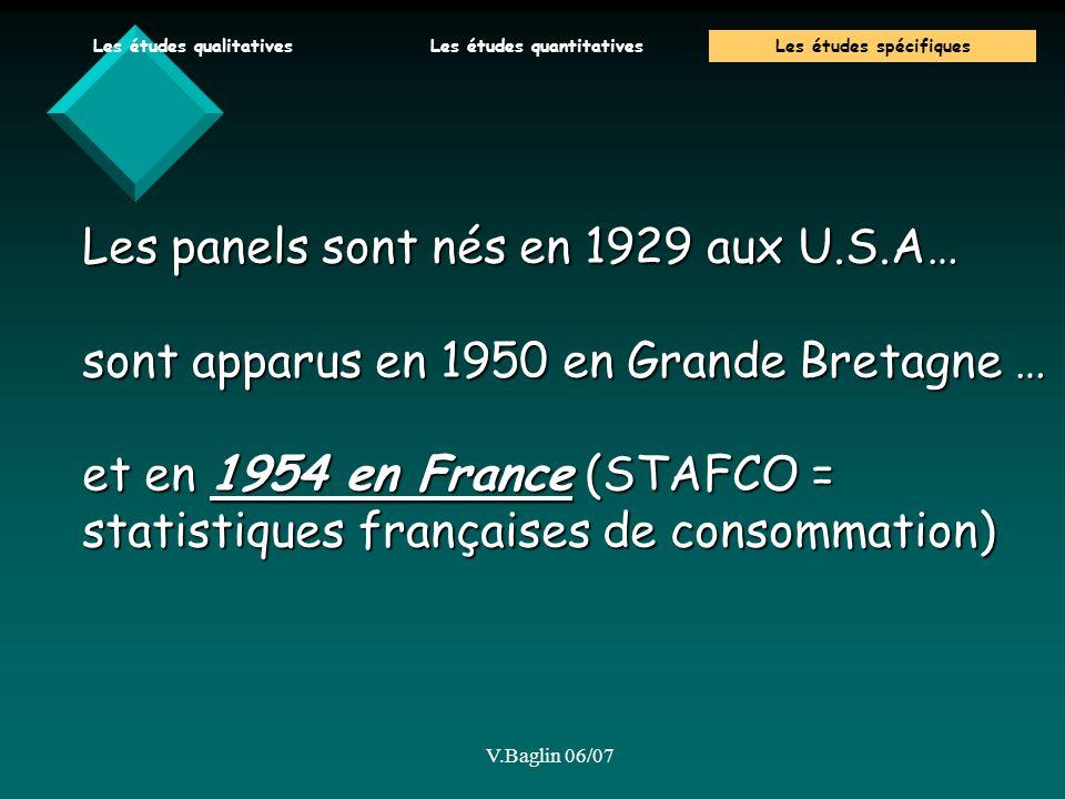 V.Baglin 06/07 Les panels sont nés en 1929 aux U.S.A… sont apparus en 1950 en Grande Bretagne … et en 1954 en France (STAFCO = statistiques françaises de consommation) Les études qualitativesLes études quantitativesLes études spécifiques