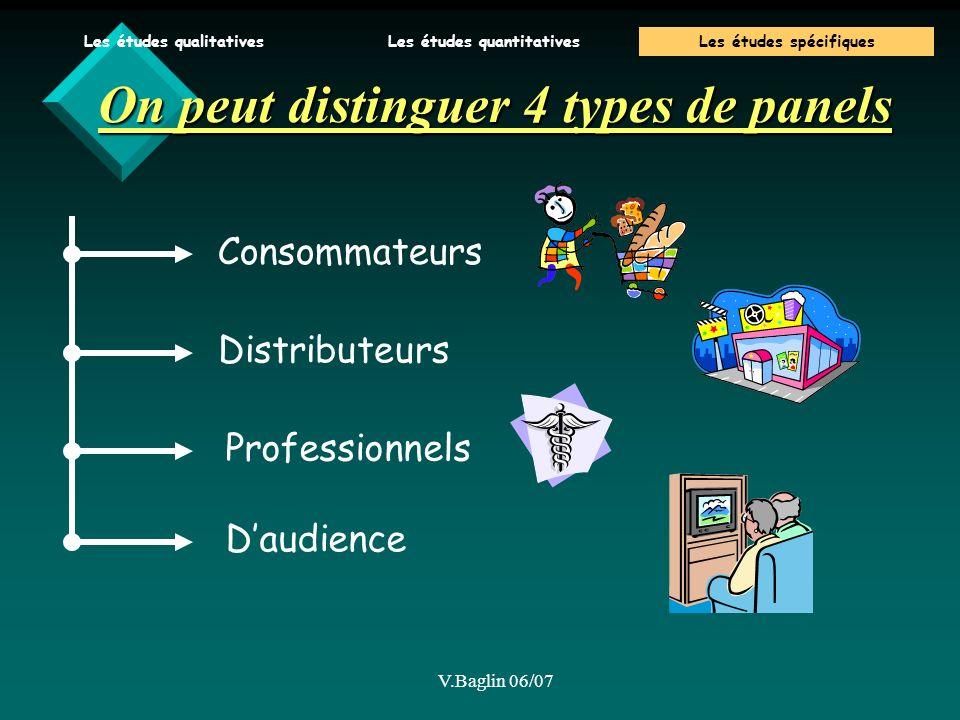 V.Baglin 06/07 On peut distinguer 4 types de panels Consommateurs Distributeurs Professionnels Daudience Les études qualitativesLes études quantitativesLes études spécifiques