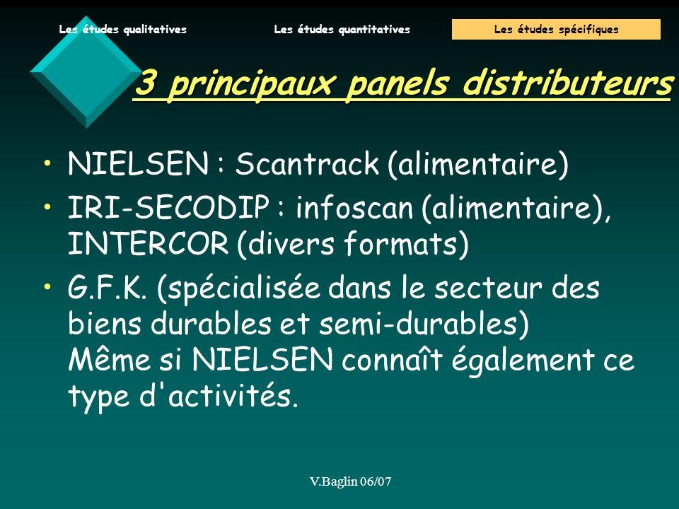 V.Baglin 06/07 3 principaux panels distributeurs NIELSEN : Scantrack (alimentaire) IRI-SECODIP : infoscan (alimentaire), INTERCOR (divers formats) G.F.K.