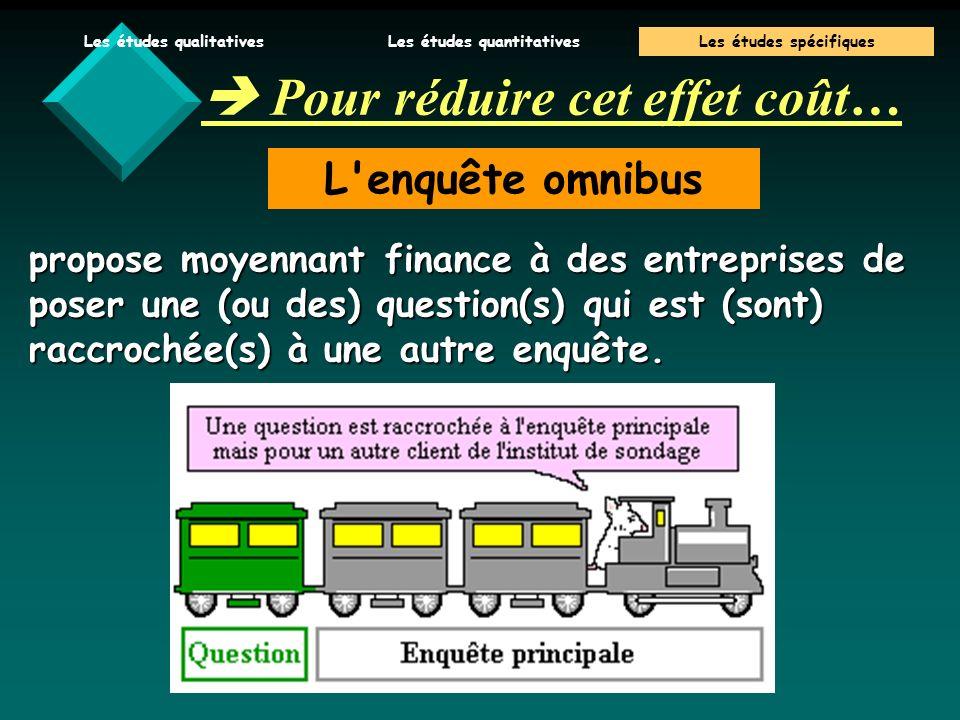 V.Baglin 06/07 Pour réduire cet effet coût… L enquête omnibus propose moyennant finance à des entreprises de poser une (ou des) question(s) qui est (sont) raccrochée(s) à une autre enquête.