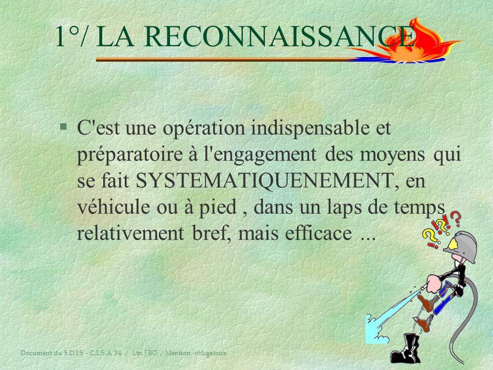 LA RECONNAISSANCE LA MISE EN SECURITE DES PERSONNES ET DES BIENS LATTAQUE DU FEU LA SURVEILLANCE Document du S.D.I.S - C.I..S.A 34 / Ltn J.BO / Mentio