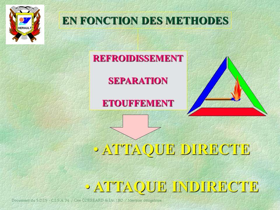 3°/ L'ATTAQUE §C'est la phase centrale de la lutte, elle est déterminante ; §Elle vise à obtenir l'extinction complète du sinistre ; §Elle comporte la