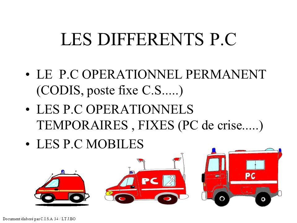 LES DIFFERENTS P.C LE P.C OPERATIONNEL PERMANENT (CODIS, poste fixe C.S.....) LES P.C OPERATIONNELS TEMPORAIRES, FIXES (PC de crise.....) LES P.C MOBI