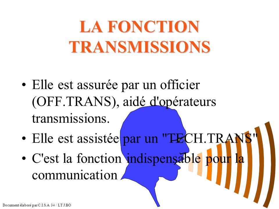 LA FONCTION TRANSMISSIONS Elle est assurée par un officier (OFF.TRANS), aidé d'opérateurs transmissions. Elle est assistée par un