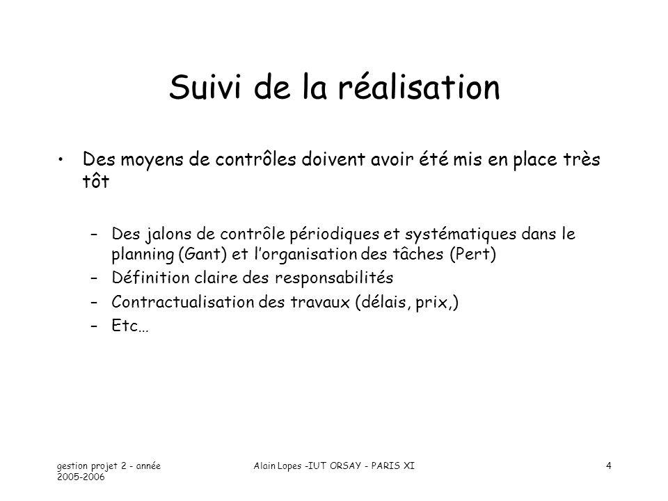 gestion projet 2 - année 2005-2006 Alain Lopes -IUT ORSAY - PARIS XI4 Suivi de la réalisation Des moyens de contrôles doivent avoir été mis en place t