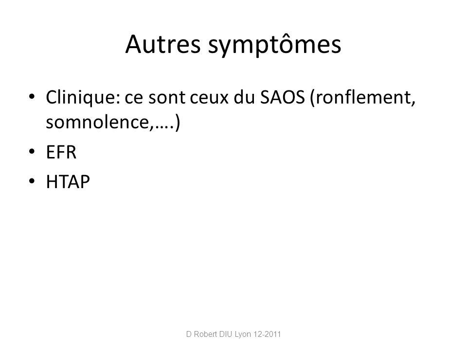 Autres symptômes Clinique: ce sont ceux du SAOS (ronflement, somnolence,….) EFR HTAP D Robert DIU Lyon 12-2011