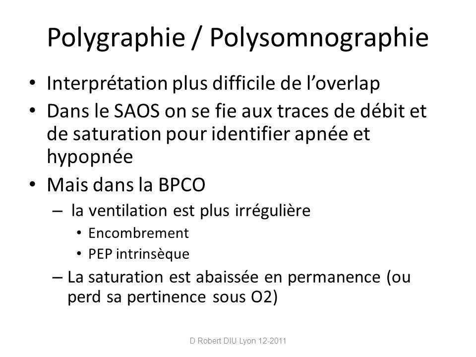 Polygraphie / Polysomnographie Interprétation plus difficile de loverlap Dans le SAOS on se fie aux traces de débit et de saturation pour identifier a