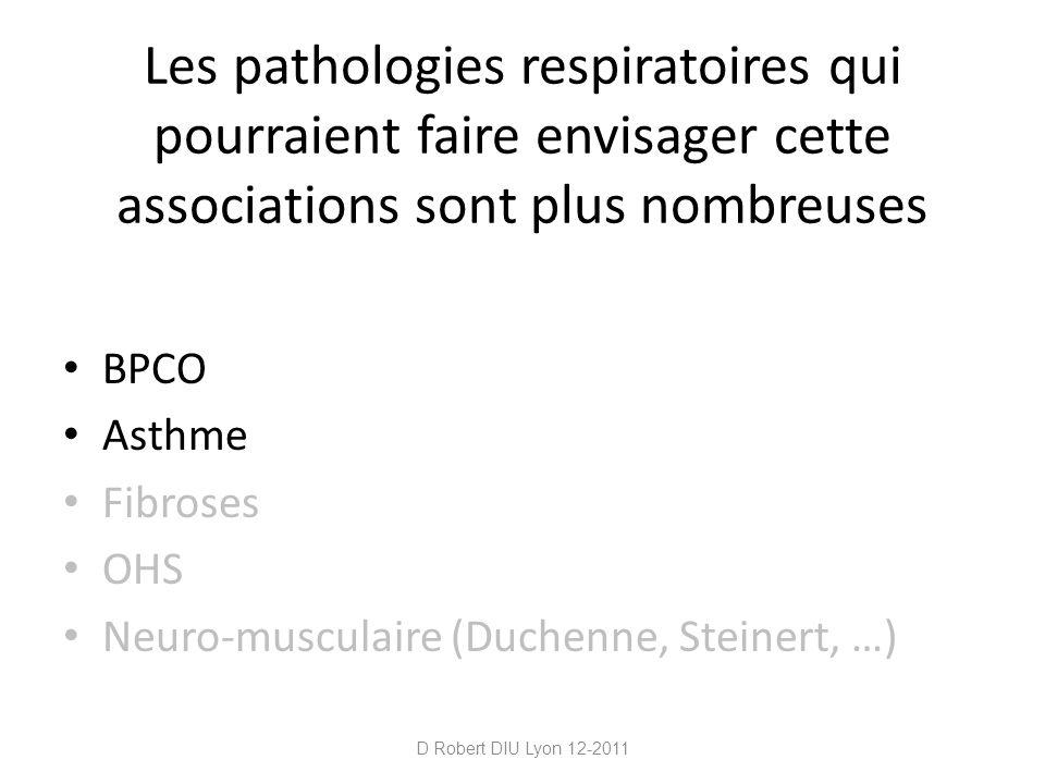 Les pathologies respiratoires qui pourraient faire envisager cette associations sont plus nombreuses BPCO Asthme Fibroses OHS Neuro-musculaire (Duchen