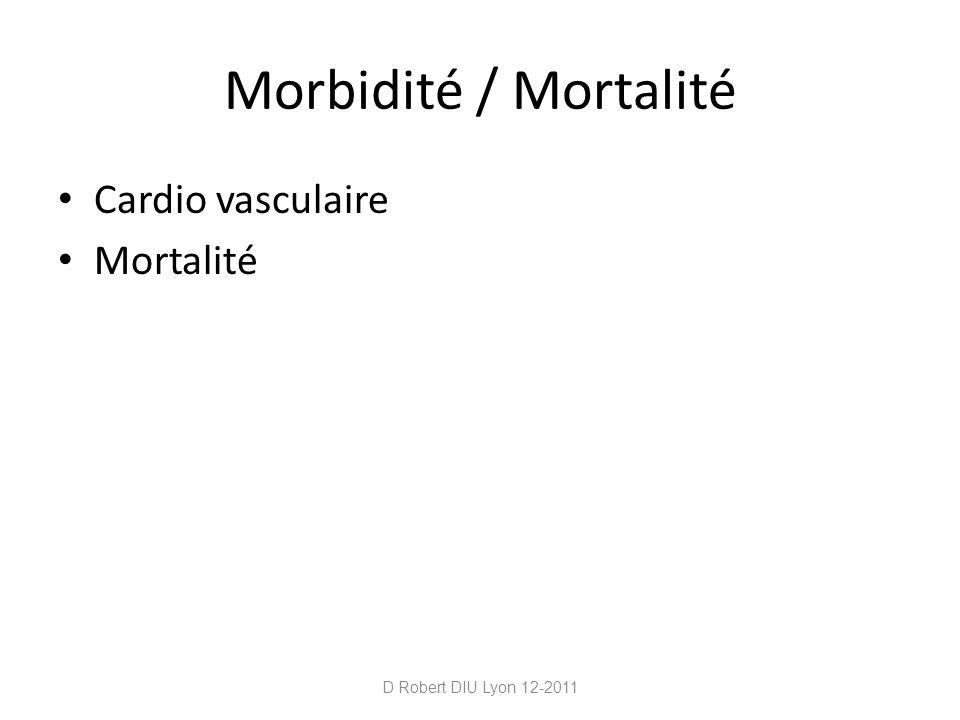 Morbidité / Mortalité Cardio vasculaire Mortalité D Robert DIU Lyon 12-2011