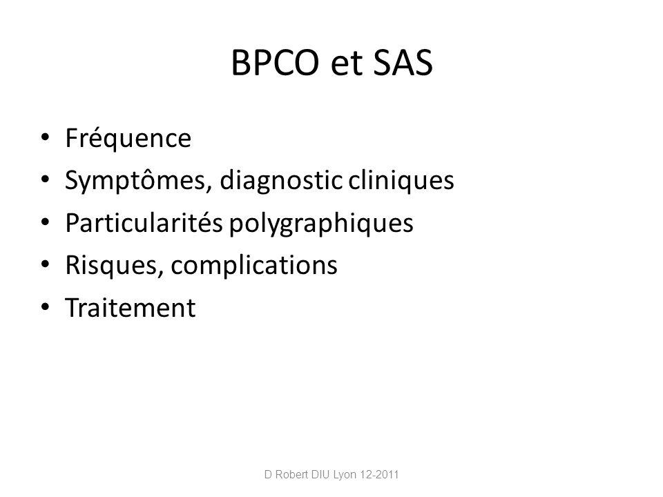 Asthme SAHOS est considéré comme fréquent chez lasthmatique Atteignant jusquà 70% dans les asthmes difficiles à contrôler Il a été montré que le traitement du SAOS chez lasthmatique améliorait lasthme (moins de BD, Peak Expiratory Flow, qualité de vie) D Robert DIU Lyon 12-2011