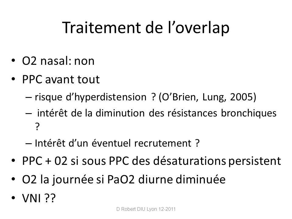 Traitement de loverlap O2 nasal: non PPC avant tout – risque dhyperdistension ? (OBrien, Lung, 2005) – intérêt de la diminution des résistances bronch