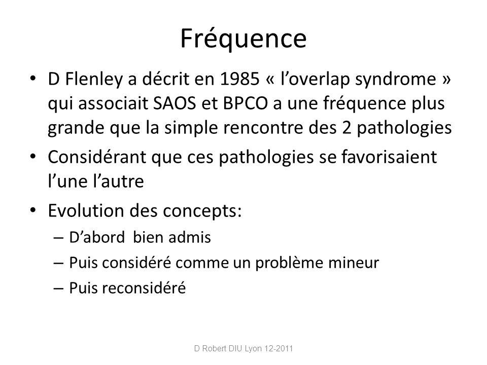 Données épidémiologiques Définitions retenues: – COPD : VEMS / CV < 70% – SAOS : IAH > 10 + 1 symptôme clinique Prévalence BPCO 10% Prévalence SAOS 5-10% La rencontre des 2 pathologies correspond à une prévalence de 0,5 à 1% et cest ce que lon retrouve soit de 325 000 à 650 000 cas en France D Robert DIU Lyon 12-2011