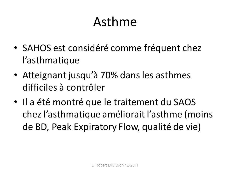 Asthme SAHOS est considéré comme fréquent chez lasthmatique Atteignant jusquà 70% dans les asthmes difficiles à contrôler Il a été montré que le trait