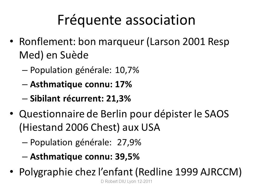 Fréquente association Ronflement: bon marqueur (Larson 2001 Resp Med) en Suède – Population générale: 10,7% – Asthmatique connu: 17% – Sibilant récurr