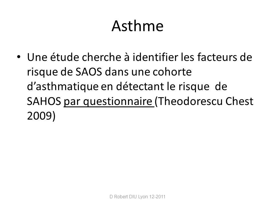 Asthme Une étude cherche à identifier les facteurs de risque de SAOS dans une cohorte dasthmatique en détectant le risque de SAHOS par questionnaire (