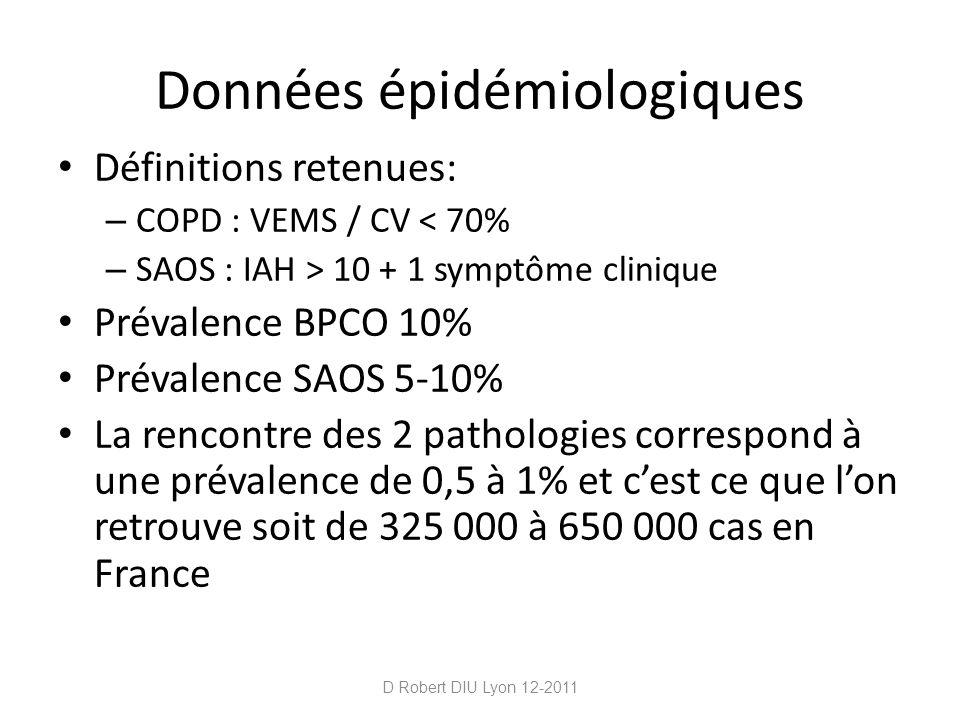 Données épidémiologiques Définitions retenues: – COPD : VEMS / CV < 70% – SAOS : IAH > 10 + 1 symptôme clinique Prévalence BPCO 10% Prévalence SAOS 5-