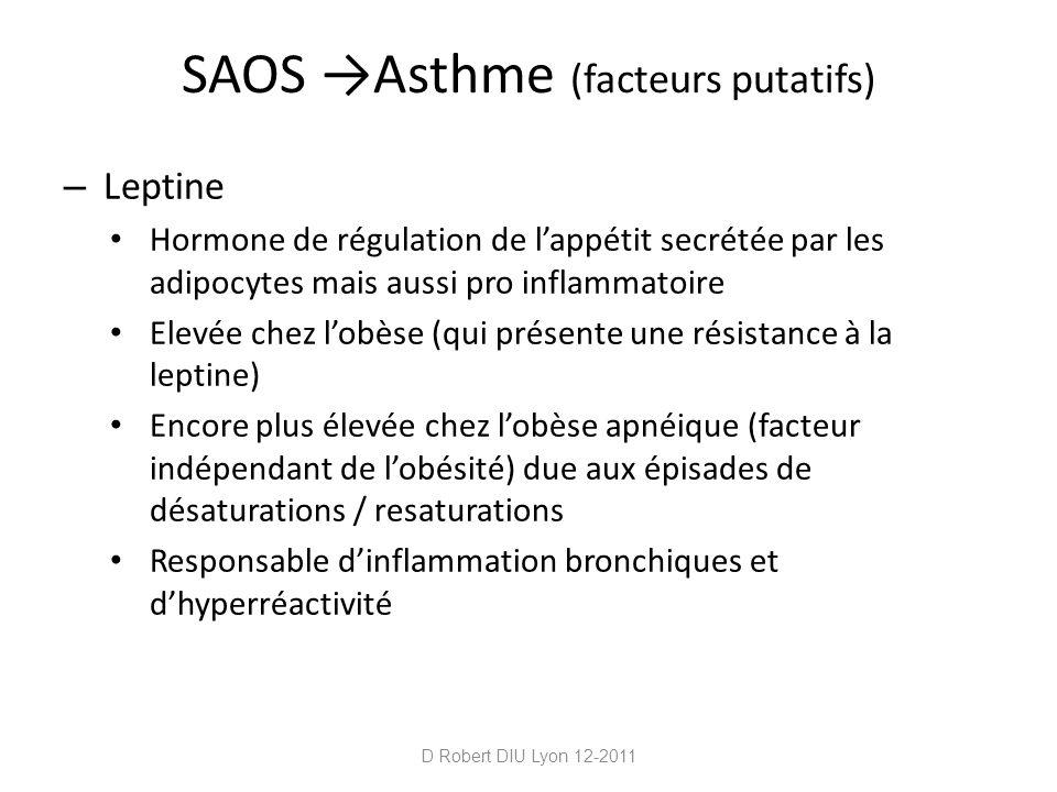 SAOS Asthme (facteurs putatifs) – Leptine Hormone de régulation de lappétit secrétée par les adipocytes mais aussi pro inflammatoire Elevée chez lobès