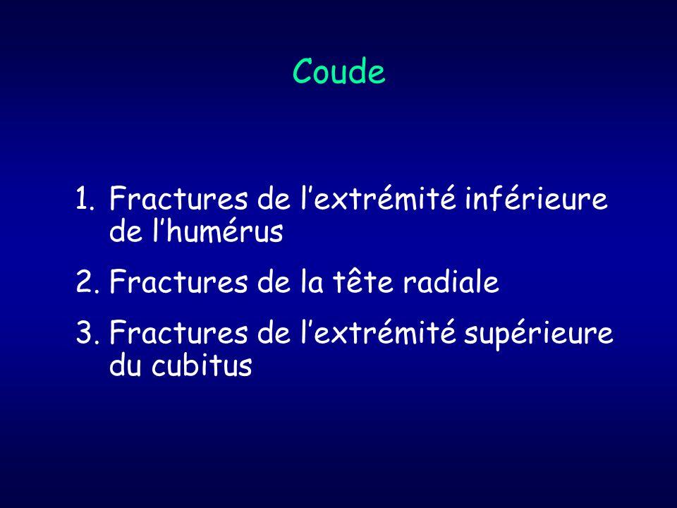 1.Fractures de lextrémité inférieure de lhumérus 2.Fractures de la tête radiale 3.Fractures de lextrémité supérieure du cubitus Coude