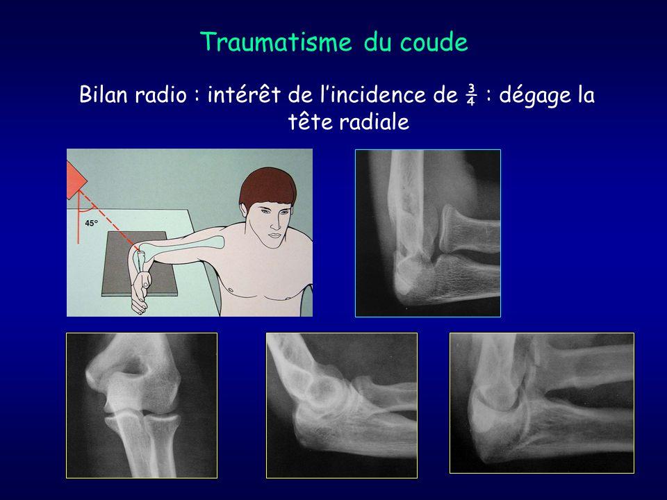Traumatisme du coude Bilan radio : intérêt de lincidence de ¾ : dégage la tête radiale