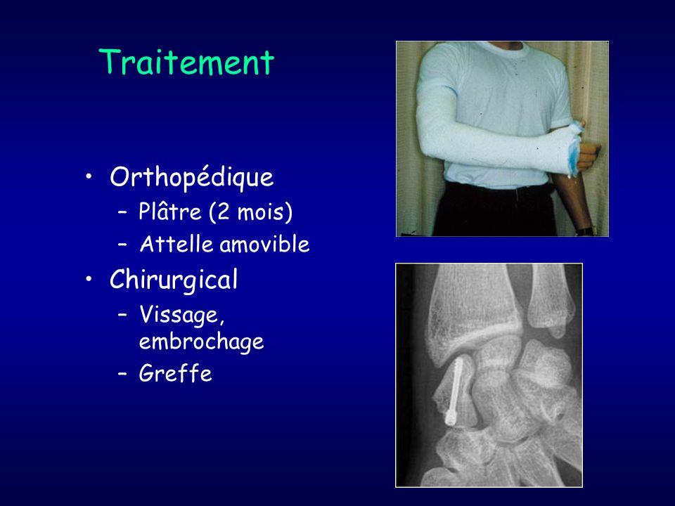 Traitement Orthopédique –Plâtre (2 mois) –Attelle amovible Chirurgical –Vissage, embrochage –Greffe