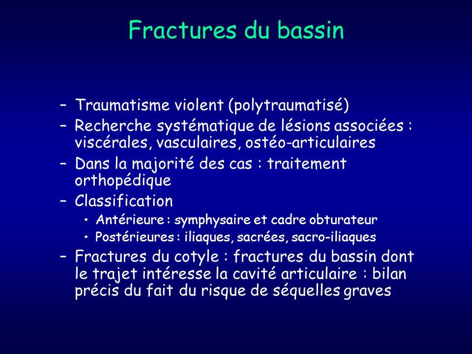 Fractures du bassin –Traumatisme violent (polytraumatisé) –Recherche systématique de lésions associées : viscérales, vasculaires, ostéo-articulaires –