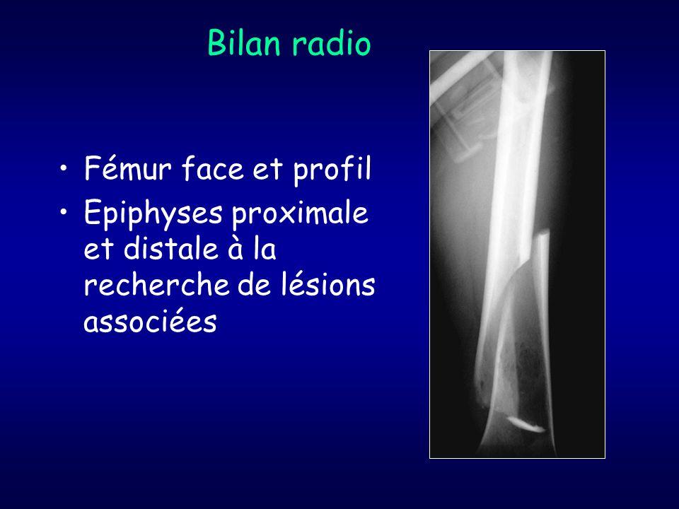Bilan radio Fémur face et profil Epiphyses proximale et distale à la recherche de lésions associées