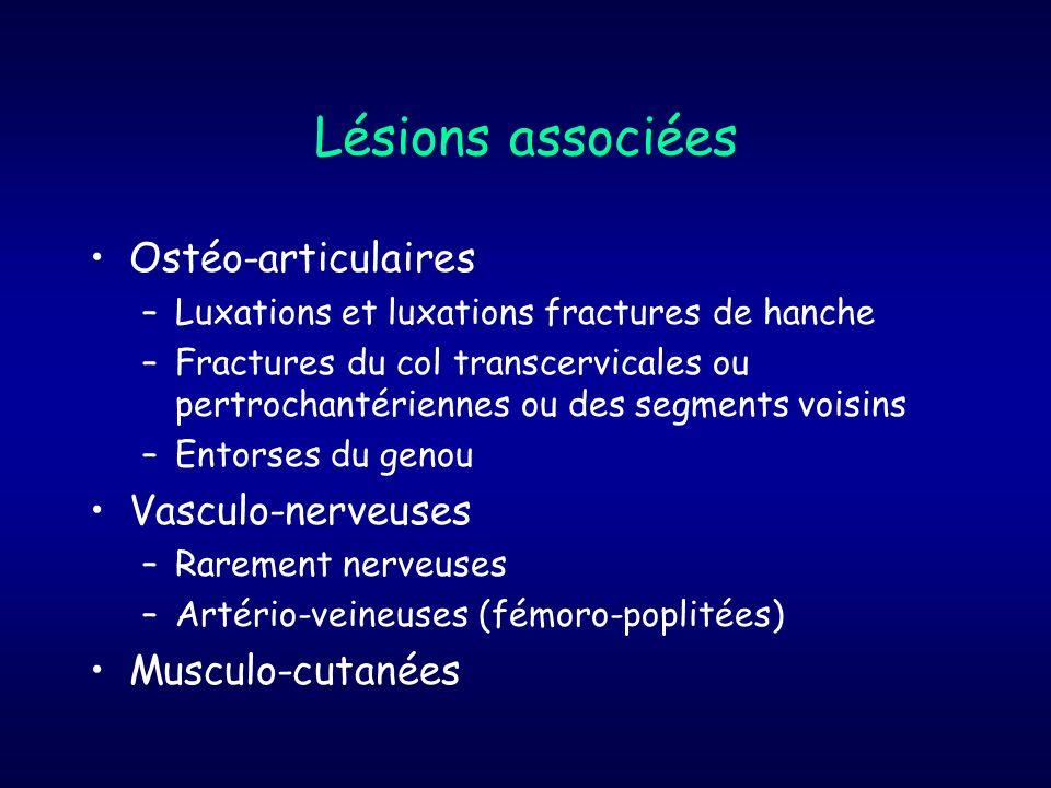 Lésions associées Ostéo-articulaires –Luxations et luxations fractures de hanche –Fractures du col transcervicales ou pertrochantériennes ou des segme