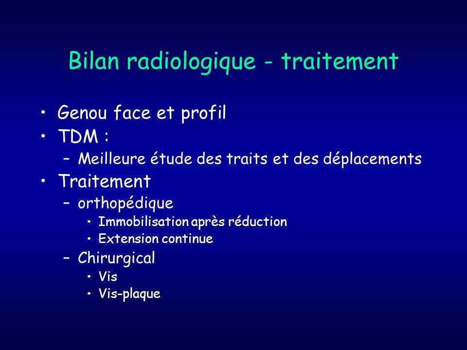 Bilan radiologique - traitement Genou face et profil TDM : –Meilleure étude des traits et des déplacements Traitement –orthopédique Immobilisation apr