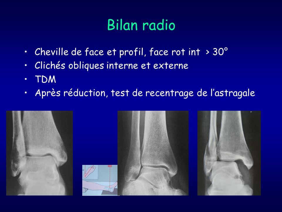 Bilan radio Cheville de face et profil, face rot int > 30° Clichés obliques interne et externe TDM Après réduction, test de recentrage de lastragale