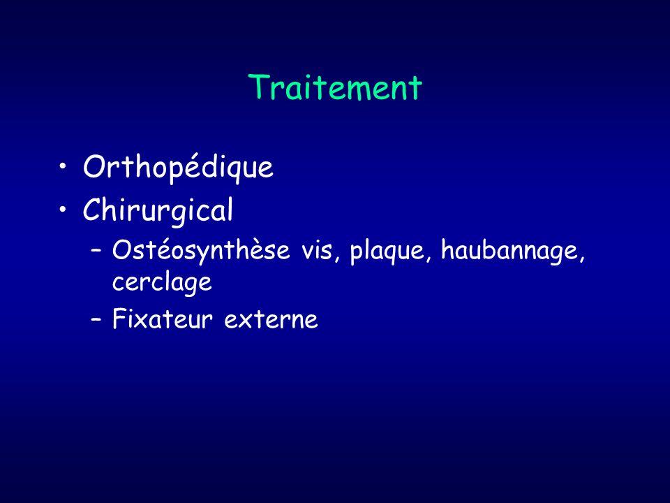 Traitement Orthopédique Chirurgical –Ostéosynthèse vis, plaque, haubannage, cerclage –Fixateur externe