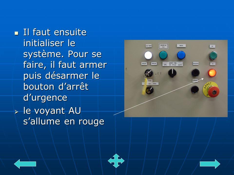 Il faut ensuite initialiser le système. Pour se faire, il faut armer puis désarmer le bouton darrêt durgence Il faut ensuite initialiser le système. P