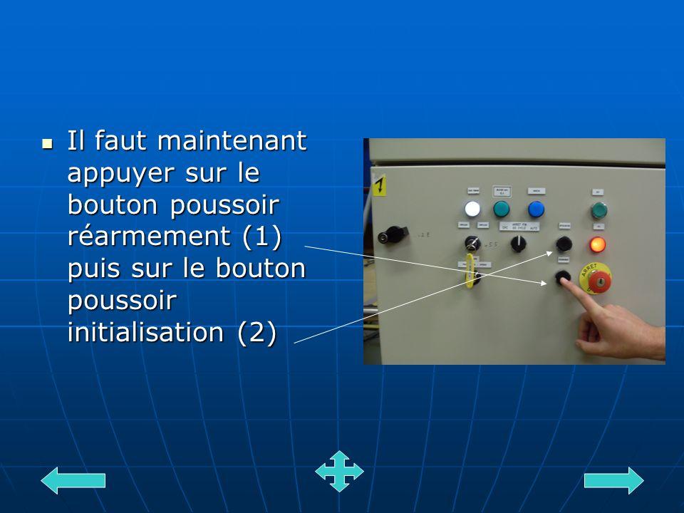 Il faut maintenant appuyer sur le bouton poussoir réarmement (1) puis sur le bouton poussoir initialisation (2) Il faut maintenant appuyer sur le bout