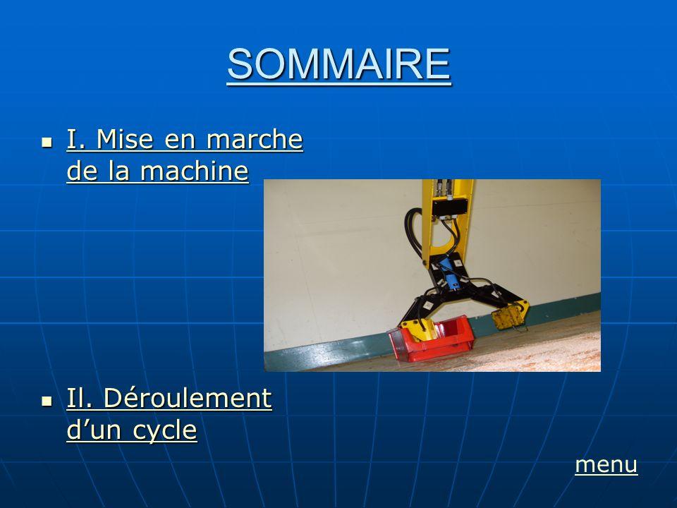 SOMMAIRE I. Mise en marche de la machine I. Mise en marche de la machine I. Mise en marche de la machine I. Mise en marche de la machine Il. Dérouleme