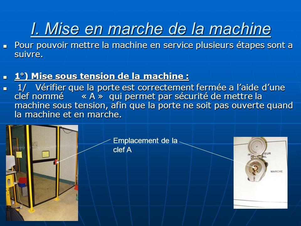 I. Mise en marche de la machine Pour pouvoir mettre la machine en service plusieurs étapes sont a suivre. Pour pouvoir mettre la machine en service pl