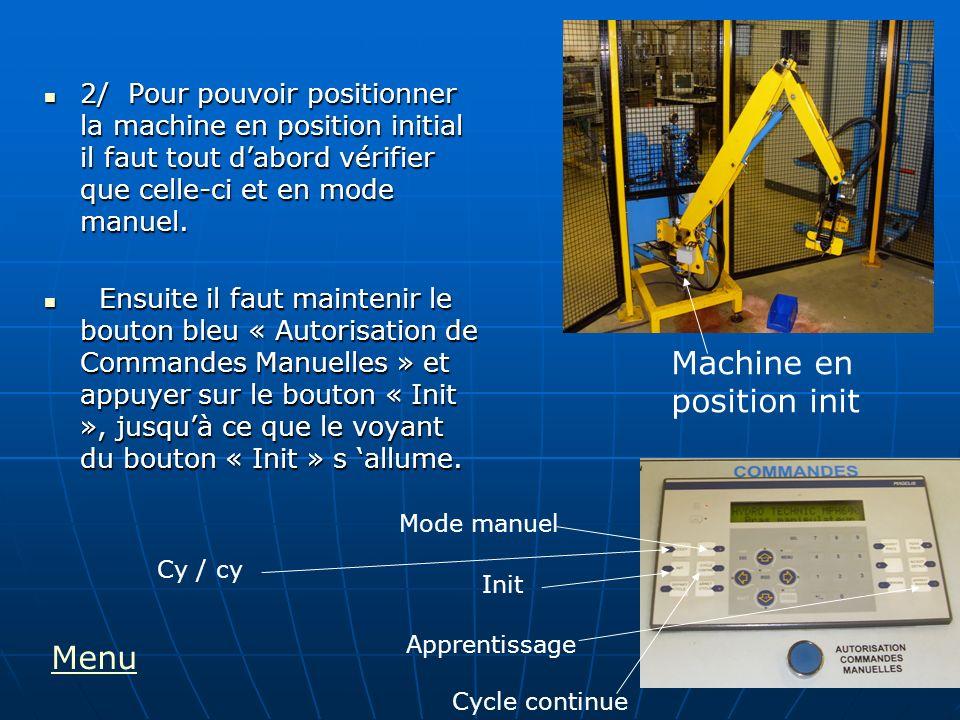 2/ Pour pouvoir positionner la machine en position initial il faut tout dabord vérifier que celle-ci et en mode manuel. 2/ Pour pouvoir positionner la