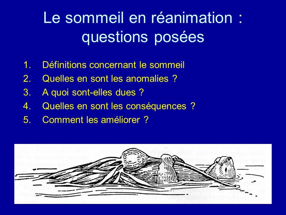Le sommeil en réanimation : questions posées 1.Définitions concernant le sommeil 2.Quelles en sont les anomalies ? 3.A quoi sont-elles dues ? 4.Quelle