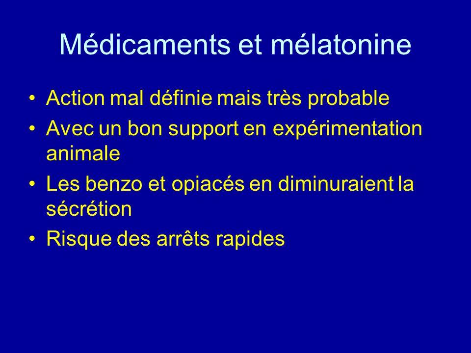 Médicaments et mélatonine Action mal définie mais très probable Avec un bon support en expérimentation animale Les benzo et opiacés en diminuraient la