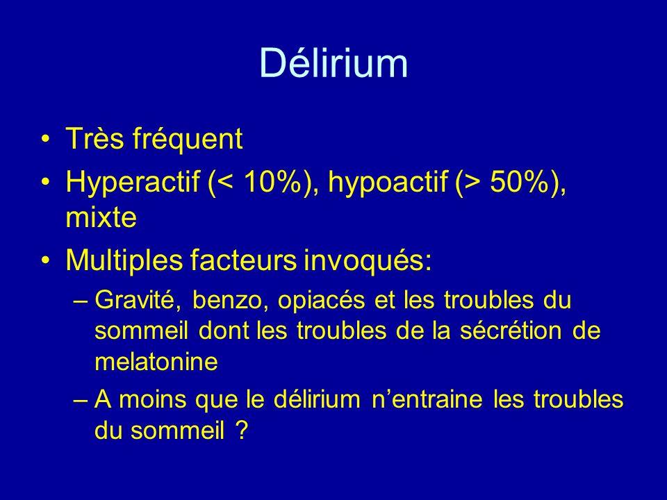 Délirium Très fréquent Hyperactif ( 50%), mixte Multiples facteurs invoqués: –Gravité, benzo, opiacés et les troubles du sommeil dont les troubles de