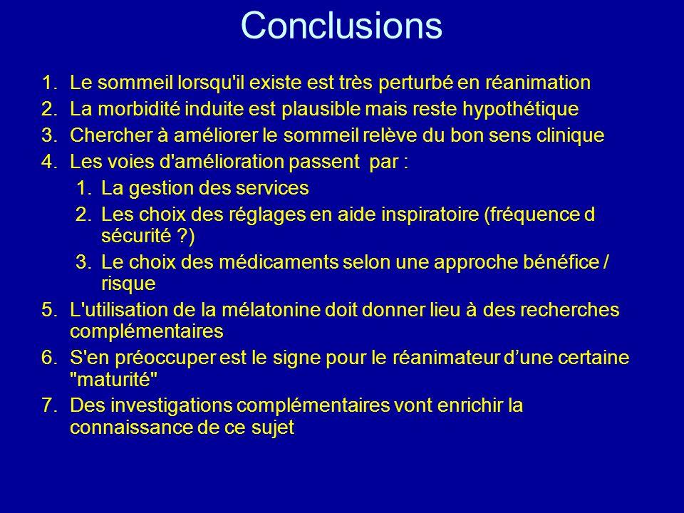 Conclusions 1.Le sommeil lorsqu'il existe est très perturbé en réanimation 2.La morbidité induite est plausible mais reste hypothétique 3.Chercher à a