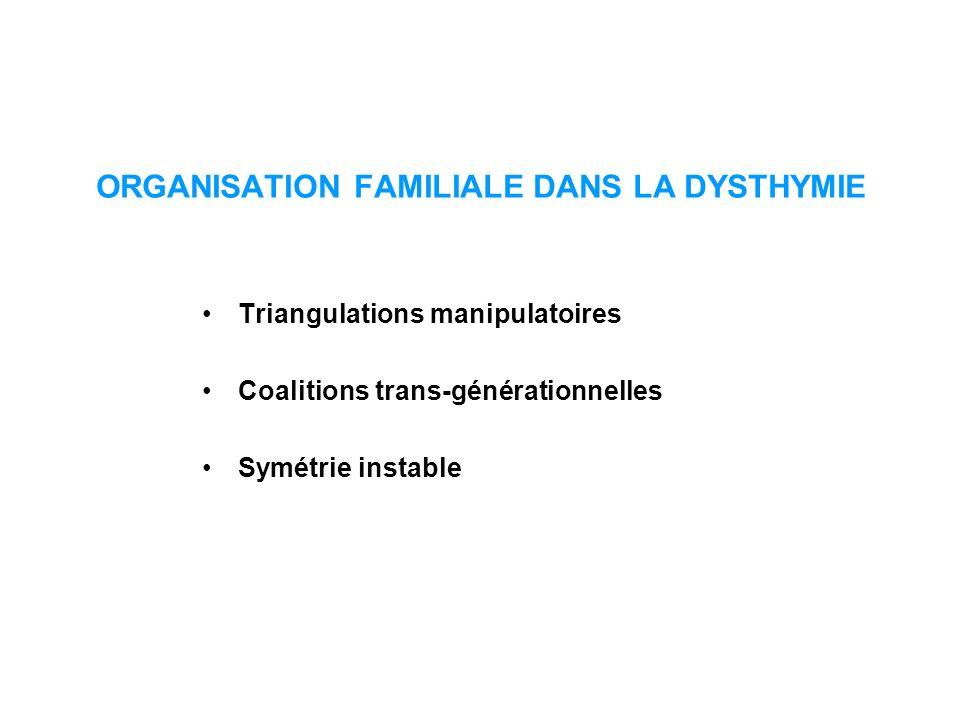 ORGANISATION FAMILIALE DANS LA DYSTHYMIE Triangulations manipulatoires Coalitions trans-générationnelles Symétrie instable