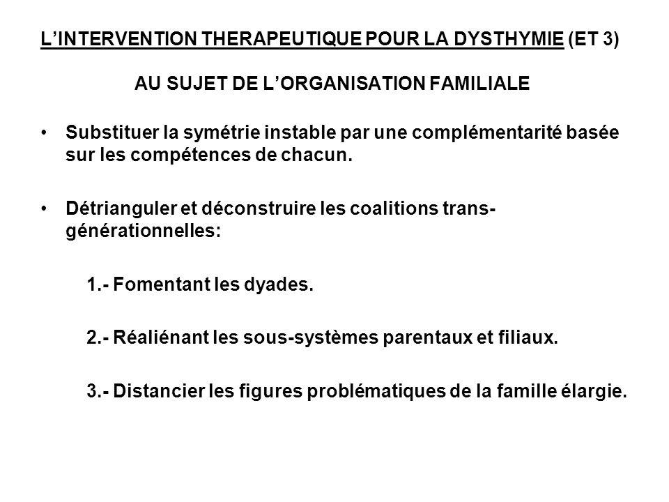 LINTERVENTION THERAPEUTIQUE POUR LA DYSTHYMIE (ET 3) AU SUJET DE LORGANISATION FAMILIALE Substituer la symétrie instable par une complémentarité basée