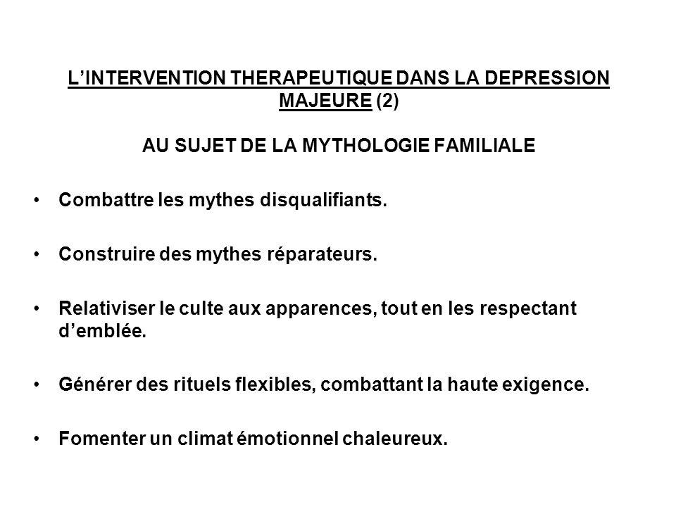 LINTERVENTION THERAPEUTIQUE DANS LA DEPRESSION MAJEURE (2) AU SUJET DE LA MYTHOLOGIE FAMILIALE Combattre les mythes disqualifiants. Construire des myt