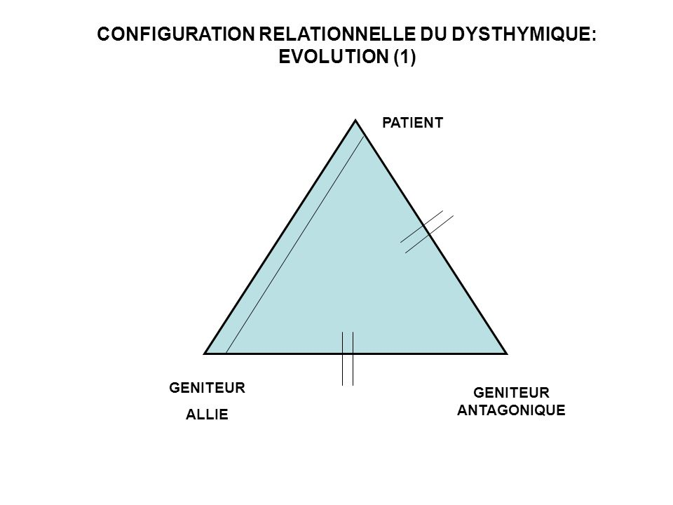 PATIENT GENITEUR ALLIE GENITEUR ANTAGONIQUE CONFIGURATION RELATIONNELLE DU DYSTHYMIQUE: EVOLUTION (1)