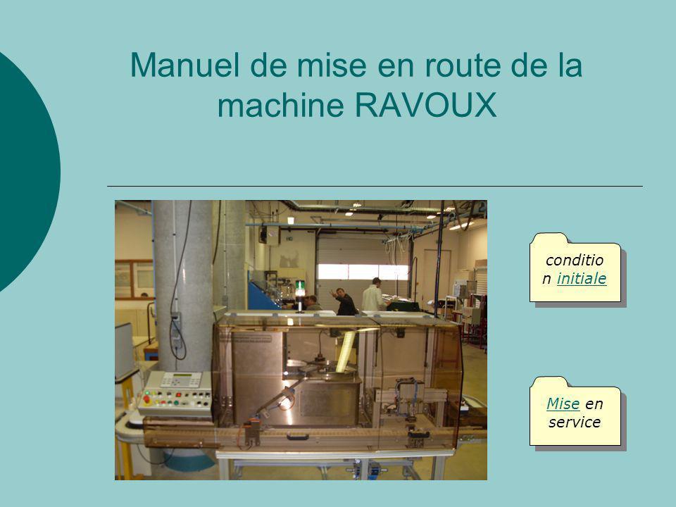Manuel de mise en route de la machine RAVOUX Mise en service Mise en service conditio n initiale conditio n initiale