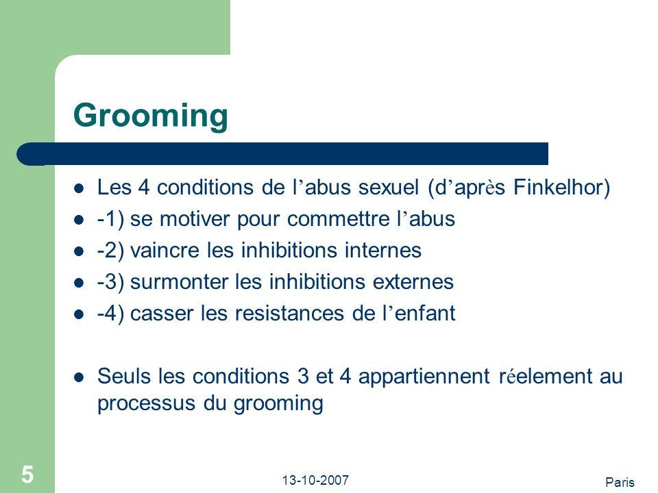 Paris 13-10-2007 6 Les strategies du grooming *la pression gentille ….