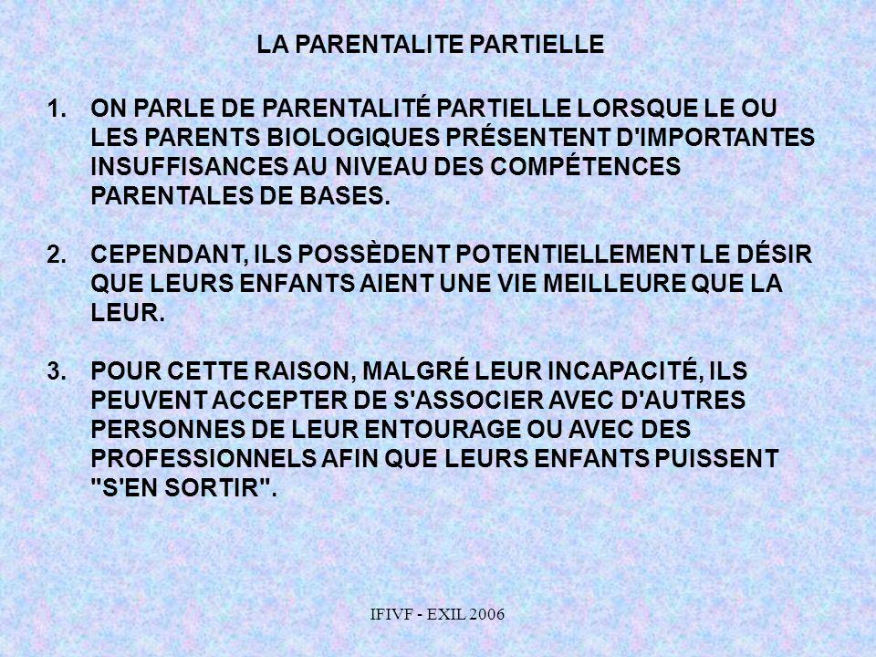 IFIVF - EXIL 2006 LA PARENTALITE PARTIELLE 1.ON PARLE DE PARENTALITÉ PARTIELLE LORSQUE LE OU LES PARENTS BIOLOGIQUES PRÉSENTENT D'IMPORTANTES INSUFFIS